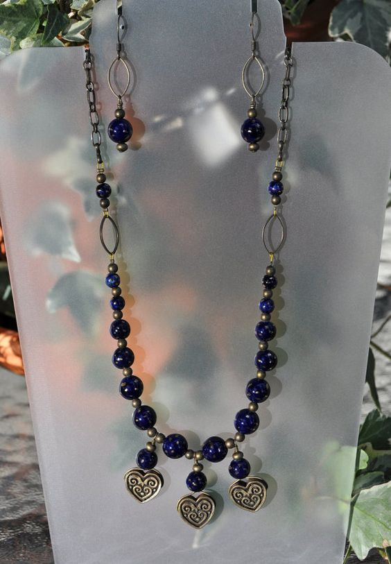 Jewelry - Blue and Bronze Hearts Necklace and Earrings by JewelryArtByGail Necklaces