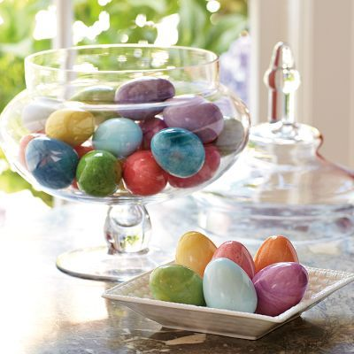 Easter Alabaster Eggs: Handcrafted in Italy, they also make beautiful centerpieces or place-setting decorations for your springtime table. $36