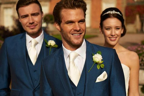 blue suit with ivory waistcoat & blue tie - Google Search