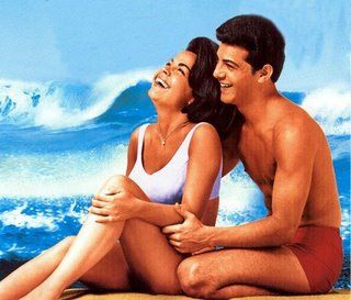 Annette Funicello and Frankie Avalon  Beach Party Movies.  Loved those movies on Saturdays at the Garden Show.