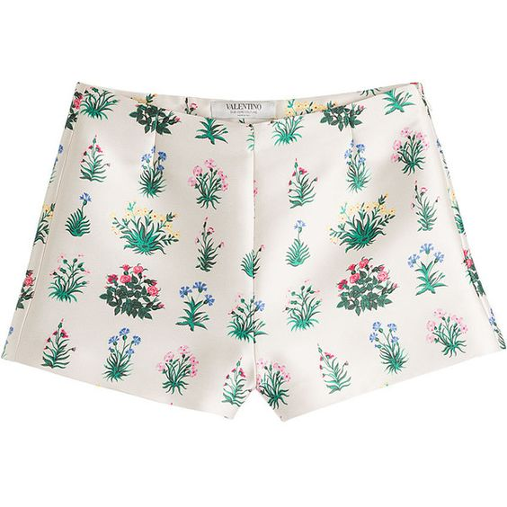 Valentino Printed Shorts (£245) ❤ liked on Polyvore featuring shorts, bottoms, pants, short, florals, tailored shorts, flower print shorts, dressy shorts, floral shorts and floral print shorts