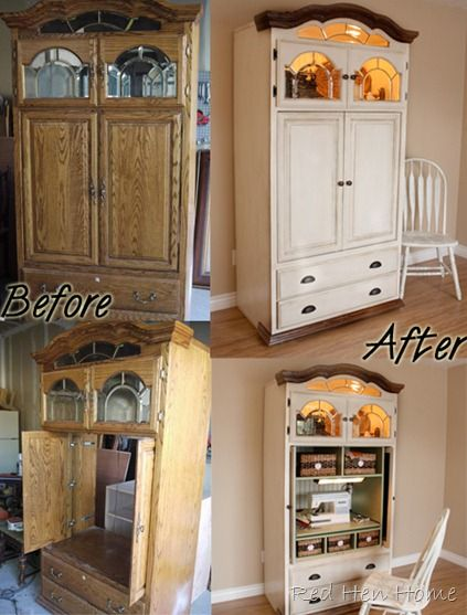 Old Entertainment Armoire Repurposed Into A Sewing Cabinet