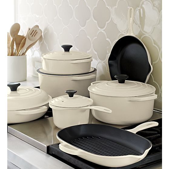 Le Creuset® Cream Skillet in Enamel Cookware | Crate and Barrel-Will take all of this please! Whole set is approx. 1309.00: