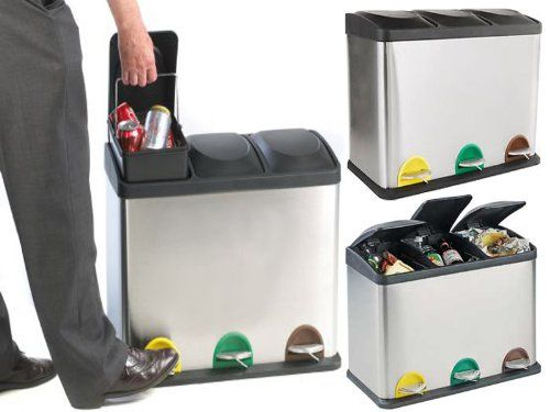 Kitchen Trash And Recycle Bins: 60L LITRE STAINLESS STEEL 3 COMPARTMENT RECYCLING BIN