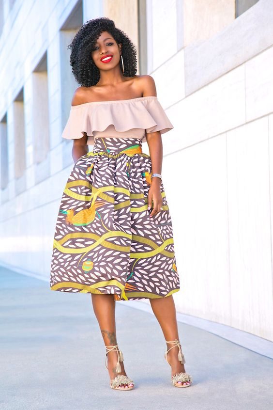 Frill Off Shoulder Top Printed Stella Jean Midi Skirt