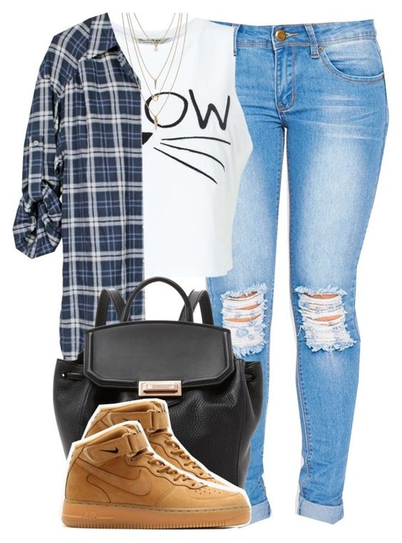 """""""976"""" by tuhlayjuh ❤ liked on Polyvore featuring Miss Selfridge, Vince, Alexander Wang, NIKE and Forever 21"""