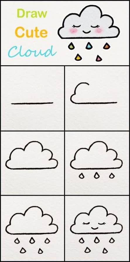 Cloud Drawing Easy : cloud, drawing, Clouds, Tutorials, Ideas, Drawings, Kids,, Beginners,