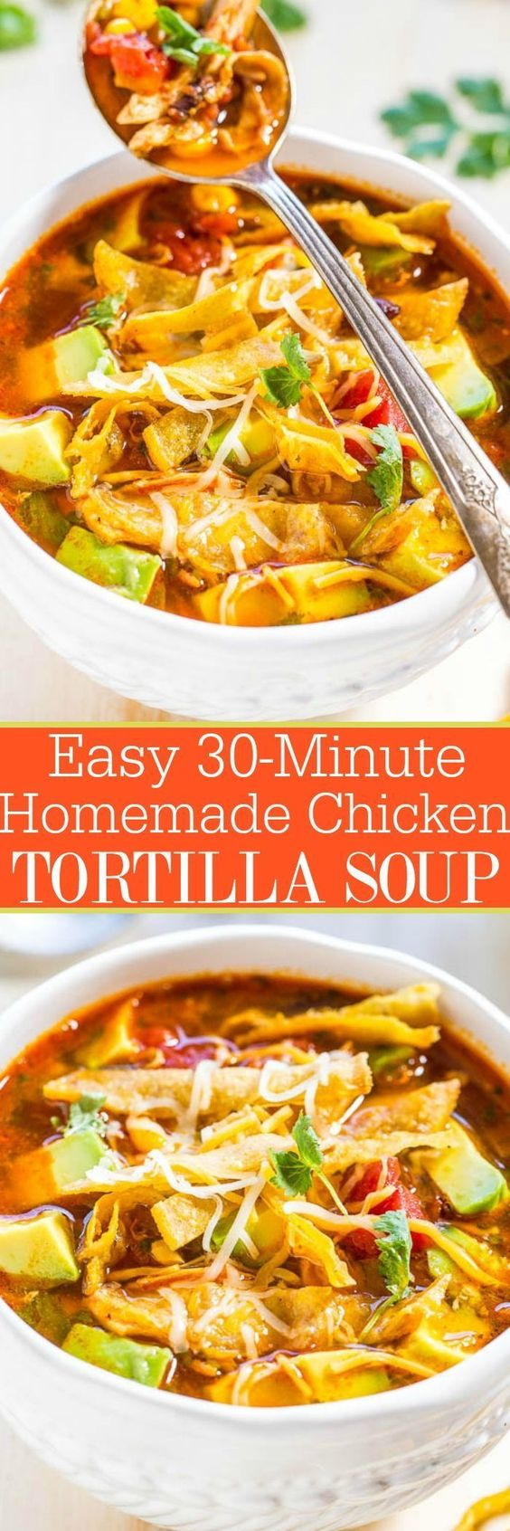 Easy 30-Minute Homemade Chicken Tortilla Soup Recipe via Averie Cooks - Chicken, tomatoes, corn, black beans, avocado, cheese, and addictively crunchy tortilla strips! Fast, easy weeknight meal, and better than from a restaurant!! - The BEST 30 Minute Meals Recipes - Easy, Quick and Delicious Family Friendly Lunch and Dinner Ideas #30minutemeals #30minutedinners #thirtyminutedinners #30minuterecipes #fastrecipes #easyrecipes #quickrecipes #mealprep