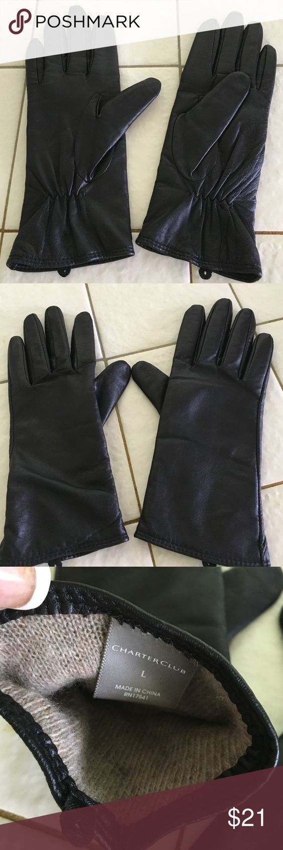 Ladies leather gloves wool lined - Charter Club Black 100 Leather Gloves Wool Lining Amazing Mint Condition Pair Of Butter