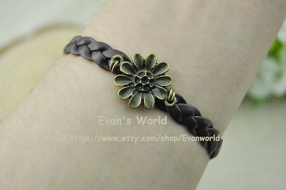 Bronze Flower Charm Bracelet  Brown braided leather by Evanworld, $0.99 Fashion handmade leather bracelet