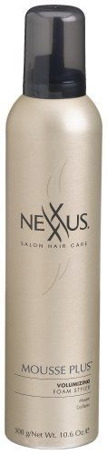 Nexxus Mousse Plus Volumizing Foam Styler, Alcohol Free, 10.6-Ounce Bottle by Nexxus. Save 13 Off!. $10.52. NexxuSphere Technology time released nutrients. Mousse Plus Alcohol Free Volumizing Foam Styler is a light. Easy to apply formula that blends instantly into the hair, creating incredible body and fullness with a spectacular shine. Whether blow drying, thermal styling or finger drying, this moisture rich mousse offers unlimited designing options. Formulated with time released N...