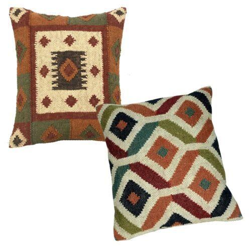 Set 2 PC 45x45 CM Handwoven Cushion Cover Kilim Wool Jute Pillowcase Sofa Throw