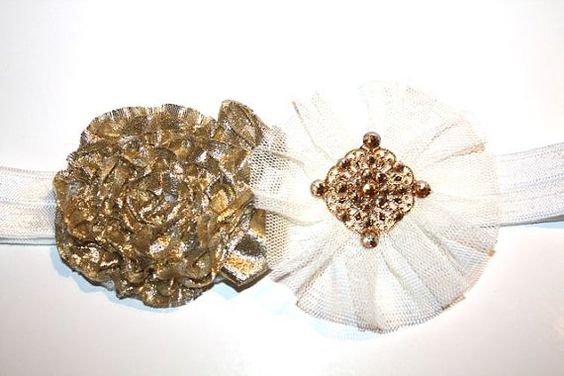 Tulle and fabric flower Headband with Swarovski crystal, toddlers, flower girls, wedding, Christmas, birthday, christmas, christening, girls