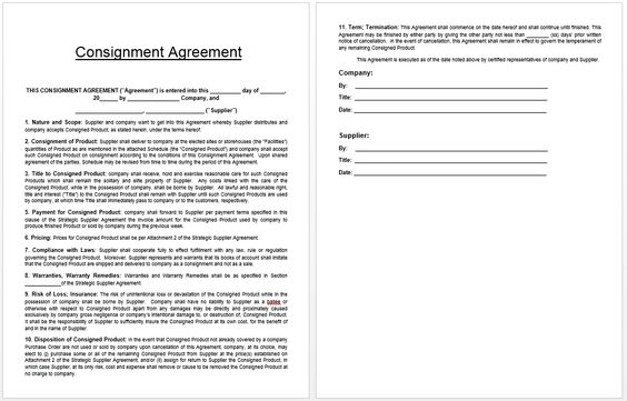 Consignment Agreement Template  Templates