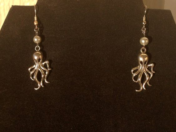 Ivory Pearl and Silver Cthulhu Earrings by RebelScumPrincess, $12.00