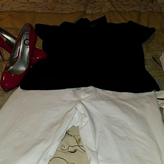 Black collared short sleeve sweater blouse, L Van Heusen classic black short sleeve sweater blouse. Great and versatike. Looks chic with white pants! Selling because its a little short on me Van Heusen Tops Blouses