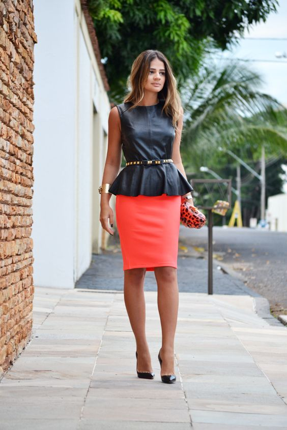 Leather peplum and coral pencil skirt: