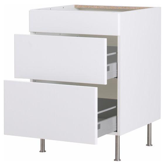 Faktum onderkast met 3 lades h rlig wit 60 cm ikea for Abstrakt kitchen cabinets