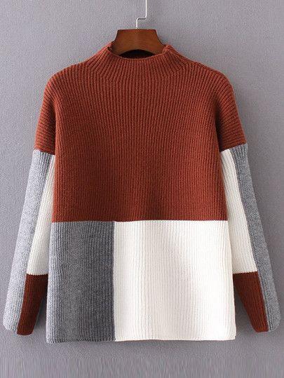 Цвет блока Мок шеи падения плеча свитер