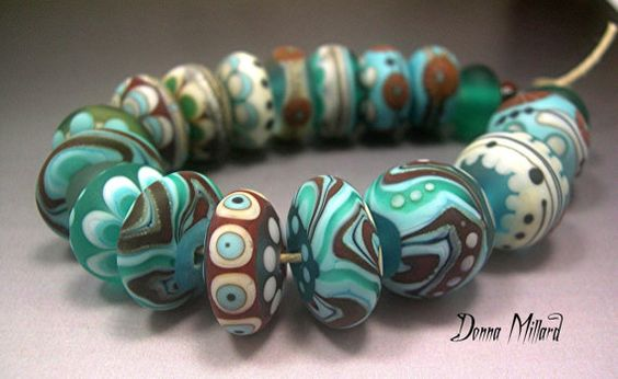 Donna Millard glass organic brown turquoise aqua discs rounds $125.00 #lampwork #beads