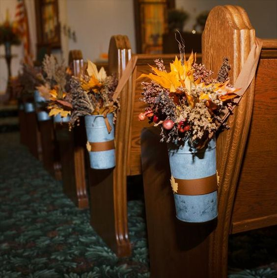 Wedding Pew Decoration Ideas: Fall Wedding Decor Pew Decorations