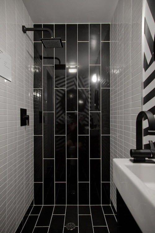 Black And White Shower Tile 20 Whitetiledbathroom In 2020 Black Tile Bathrooms Bathroom Shower Design Black Bathroom