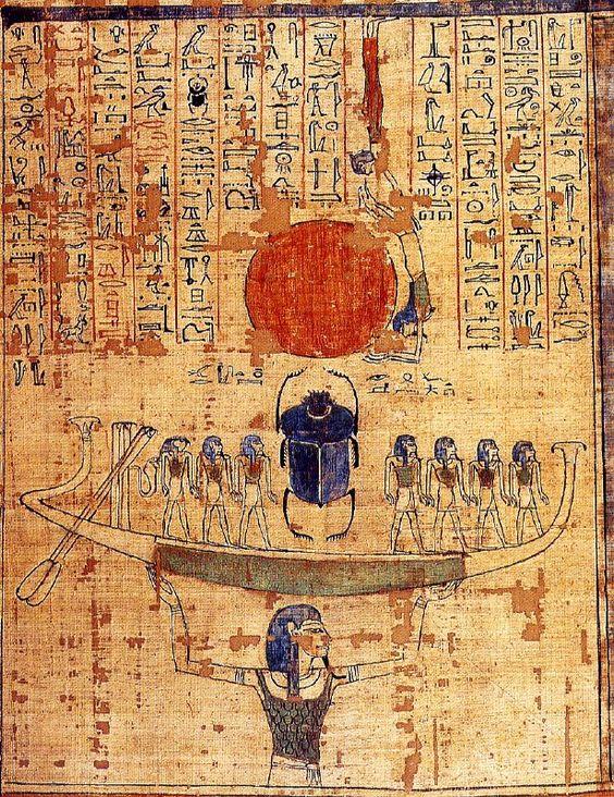 El dios Nun eleva la barca solar desde las aguas de la creación