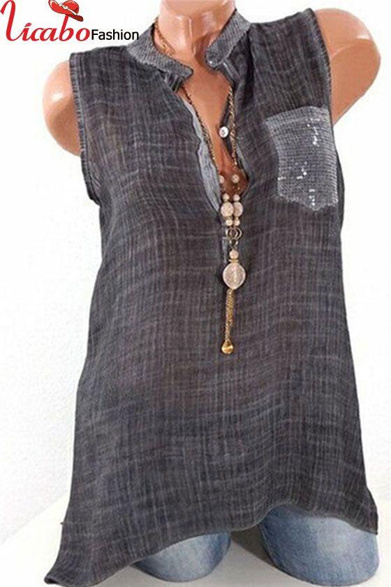 Plus Size Blouse Womens V Neck Tops Sleeveless T-Shirt Summer Vest