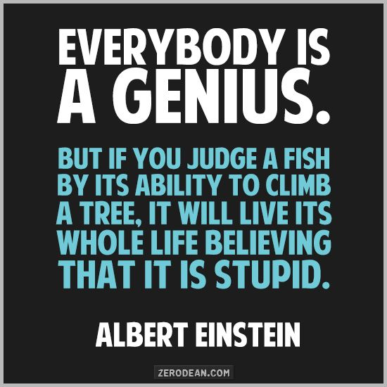 Image result for albert einstein quotes everyones a genius
