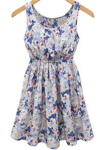 Blue Sleeveless Floral Pleated Tank Dress