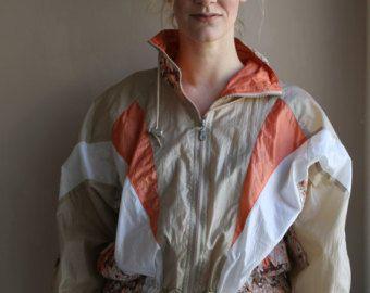Retro 70s Ski Jacket/ Vintage Brown and Orange Jacket  #tan #orange #white #ski #vintage #retro #jacket