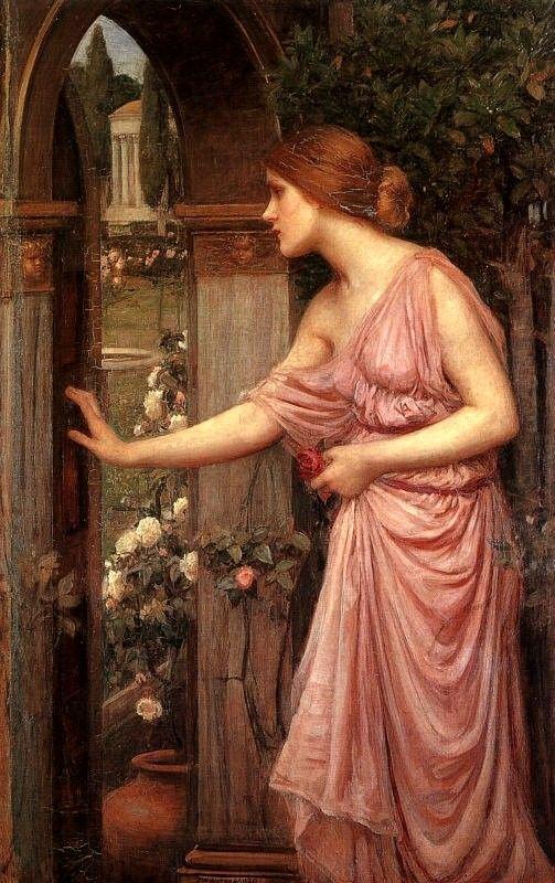 Psyche Entering Cupid's Garden - John William Waterhouse - story described in Hesiod's Theogony.