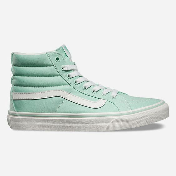 Vans Sk8-Hi Slim Womens Shoes ($55) ❤ liked on Polyvore featuring shoes, sneakers, mint, laced sneakers, lace up sneakers, hi tops, cushioned shoes and vans sneakers