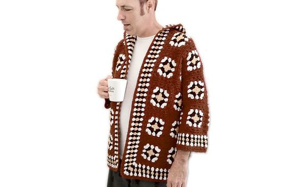 DIY Handmade Granny Square Ugly Sweater (Robe?) Hoodie Adult Size Large/XL (Women's/Men's) $18