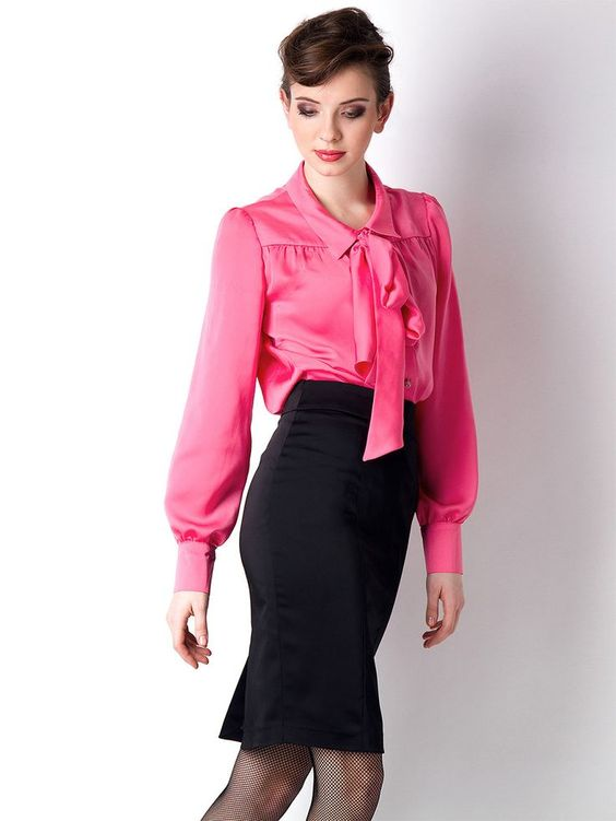 Pink Blouse With Black Bow 12