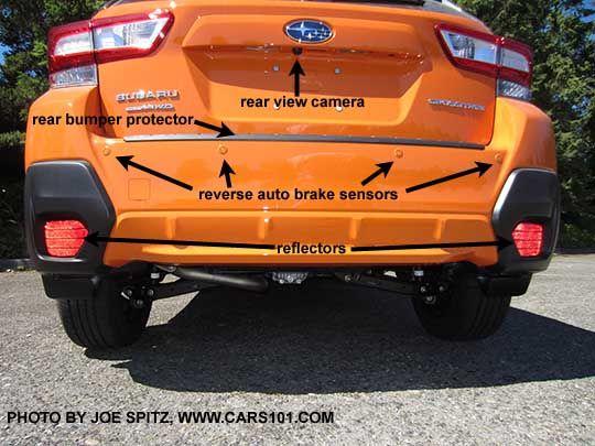 Diagrammed 2018 Subaru Crosstrek Rear View Showing The Rear View Camera Reflectors Optional Rear Bumper Subaru Crosstrek Subaru Subaru Crosstrek Accessories