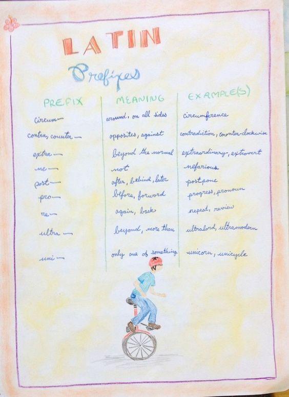 Waldorf ~ 6th grade ~ Roman History ~ Latin Prefixes ~ main lesson book