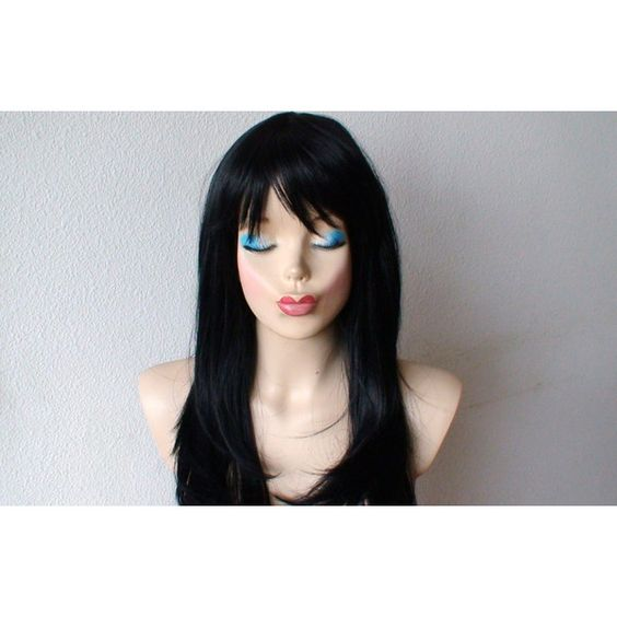 Halloween Special Black wig. Long Straight hair with bangs wig. ($79) ❤ liked on Polyvore featuring beauty products, haircare, hair styling tools, hair, black haircare and black hair care