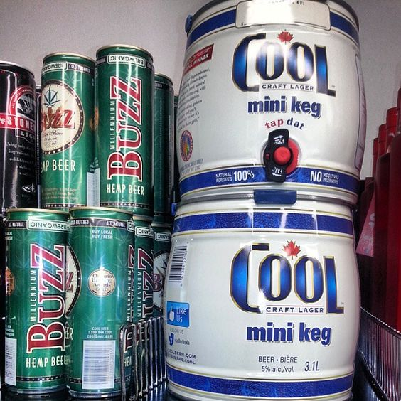Stacks of Cool mini kegs, Buzz cans & Stonewall Light cans