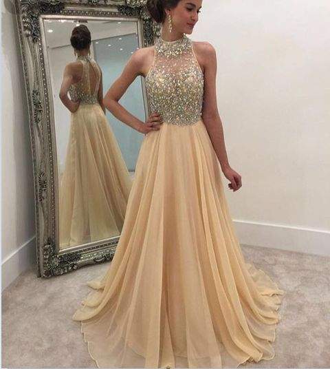 Beading champagne Prom Dress,Long Prom Dresses,Cheap Prom Dresses ...