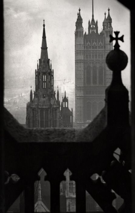 The Houses of Parliament, view from Victoria Tower, London, 1934