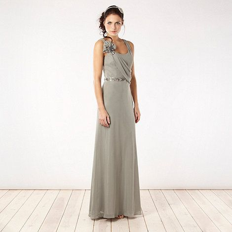 No. 1 Jenny Packham Light green asymmetric draped maxi dress- at ...