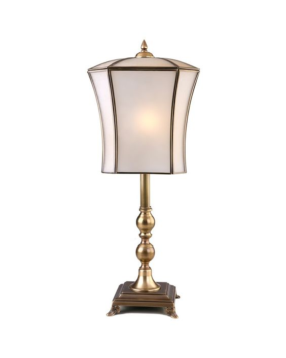 Antique Style Frosted Glass Table Lamp With Lantern Shade