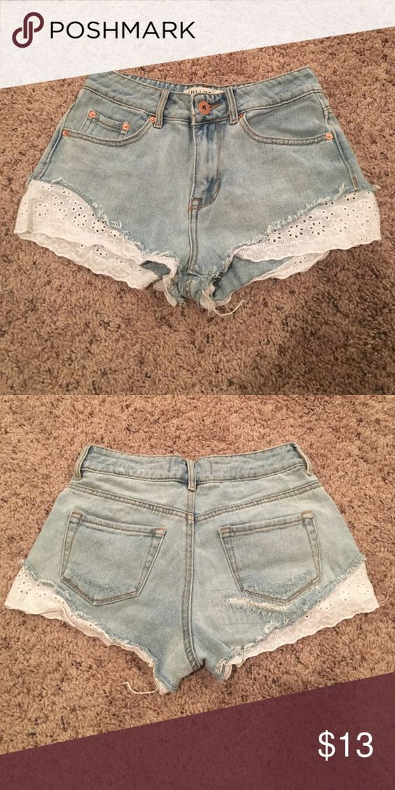 Crochet high rise shorts Never worn. Crochet detailing. They are a size 1 and I usually wear size 25 in the waist and they fit perfectly. PacSun Shorts Jean Shorts