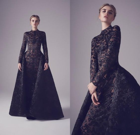 2016 Ashi Studio Black Evening Gowns Overskirts Long Sleeves Prom Dress Applique Formal Pageant Party Dress Krikor Jabotian Cocktail Womens Formal Dresses Black Gowns From Everbridal1989, $301.51| Dhgate.Com
