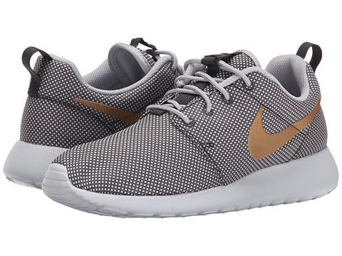 nike roshe grey with gold swoosh