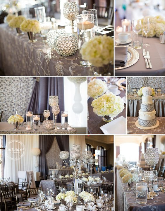 Pin By Tammy Vartenisian On Cream And Grey Wedding Ideas Grey Wedding Decor Wedding Decorations Silver Wedding Theme
