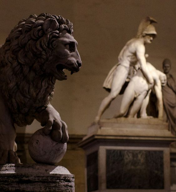 Medici LionLoggia dei Lanzi, Florence, Italy, September 2014