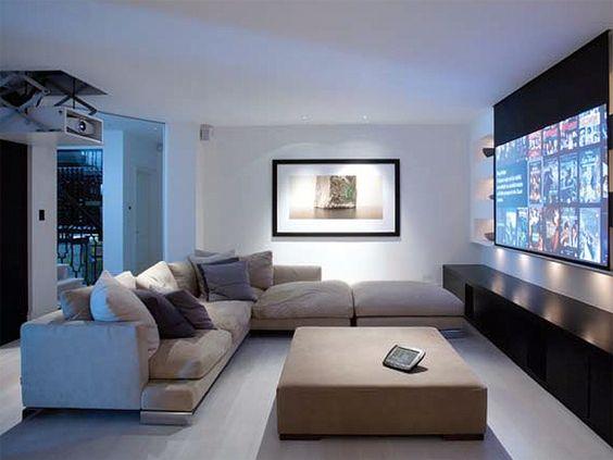 High tech im wohnzimmer so fallen tv beamer und for Hi tech living room designs
