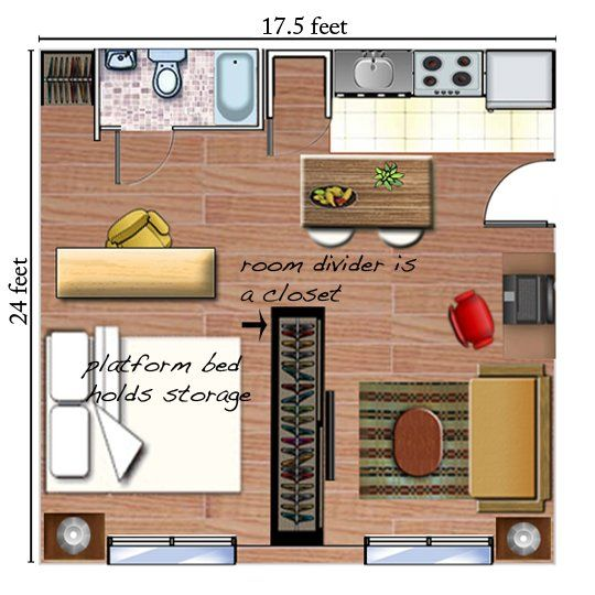 plan de studio avec coin nuit si j 39 avais un studio pinterest design appartements et placard. Black Bedroom Furniture Sets. Home Design Ideas
